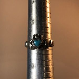 SF Jewelry - SF sterling silver claddagh w turquoise stone ring